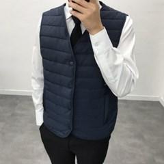 겨울 남성 루즈핏 노카라 세미 누빔 정장 초경량 패딩조끼