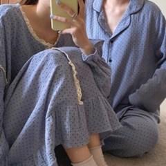 도트 믹스 요루면 커플 파자마 잠옷