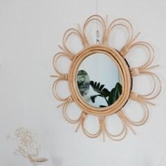 우드 라탄 벽거울 원형