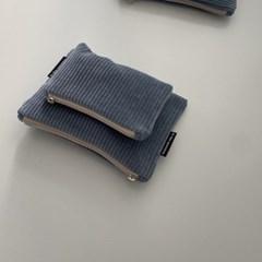 크림 블루 골덴 파우치(Cream blue corduroy pouch)