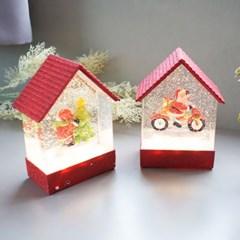 [반짝조명] 크리스마스 레드 하우스 LED 워터볼 오르골