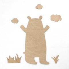 우드아트꾸미기 - 곰 (W590) 컬러링 색칠공부