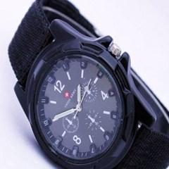 남성 아날로그 Army fabric Black 손목시계 3705