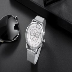 남성 아날로그 YOLAKO White Mesh 손목시계 Y0416