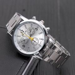 남성 아날로그 Sliver Multi-function Business Watch
