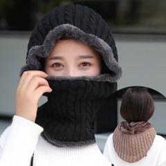 리쭈 겨울 니트 방한 후드넥워머 목토시 모자_(2497703)