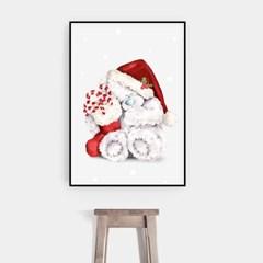 크리스마스 그림 액자 인테리어 장식 선물 패브릭 소품_곰돌이 산타