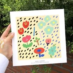 일러스트 정사각 포스터 - Rainy Garden