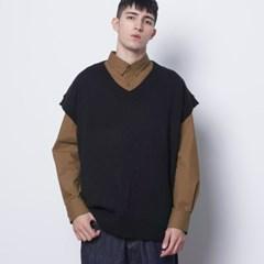 M614 in over knit vest black_(309497)