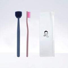 칫솔공장 1달살기세트 (혀클리너1개+칫솔1개)+증정.휴대용파우치