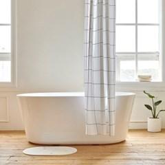 그리드 욕실 샤워커튼 디자인 패브릭 방수 가림막 커텐_(1376960)
