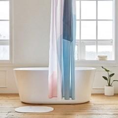 밀크 욕실 샤워커튼 디자인 패브릭 방수 가림막 커텐_(1376958)