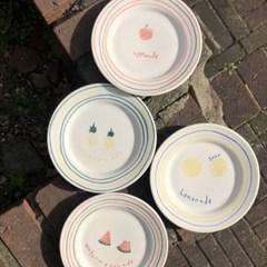 프룻 접시 (레몬,사과,수박,파인애플)
