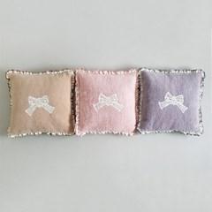 극세사 리본 방석 쿠션 커버 3color