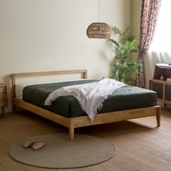 [장미맨숀] 리브 원목 퀸 침대프레임 (브라운)