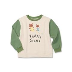 토베 x 오케이티나 소매 배색 스웻 셔츠 카키