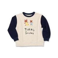 토베 x 오케이티나 소매 배색 스웻 셔츠 네이비