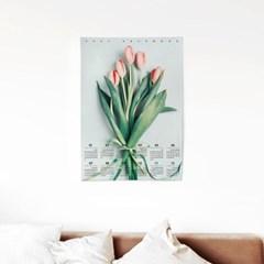 2021 패브릭 천 벽걸이 달력 인테리어 꽃 포스터 튤립
