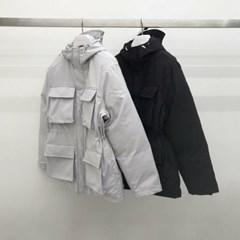겨울 남성 루즈핏 포켓 허리스트링 후드점퍼 패딩