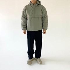 겨울 남성 오버핏 두꺼운 밑단스트링 아노락 후드점퍼 패딩
