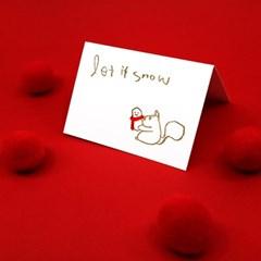 다정한 다람쥐 크리스마스 레터프레스 미니카드