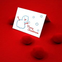 포근한 눈사람 크리스마스 레터프레스 미니카드