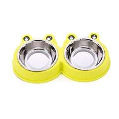 스텐 반려동물 쌍식기 소형 2구 강아지 밥그릇