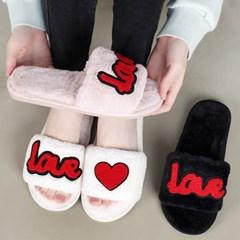 kami et muse Love heart fur slippers_KM20w161