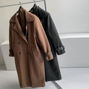 겨울 루즈핏 빅카라 두꺼운 허리끈벨트 울 뒷트임 롱코트
