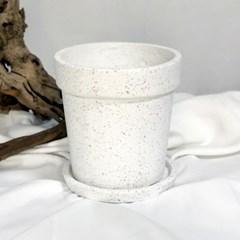 화이트테라조 원띠 대리석화분 백색화분 분갈이화분 인테리어화분