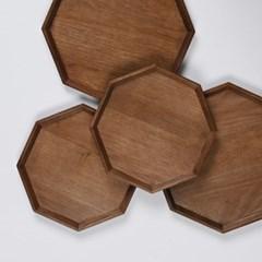 롬우드 월넛 원목 팔각 접시 트레이 25cm_(1739488)