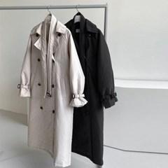 겨울 오버핏 두꺼운 허리끈벨트 누빔 뒷트임 롱코트