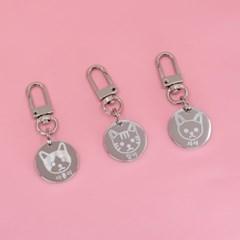 심플 고양이 캐릭터 인식표(팬던트타입)