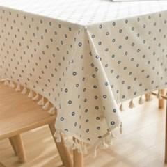 블루플라워 린넨 테이블 식탁보 3size