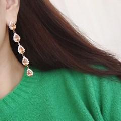 블링 화려한 파티 롱 드롭 귀걸이 티타늄침 샴페인 골드