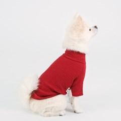 [퍼리굿] 강아지 목폴라 골지 티셔츠 겨울옷 (레드)