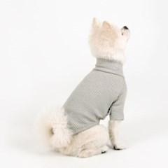 [퍼리굿] 강아지 목폴라 골지 티셔츠 겨울옷 (그레이)