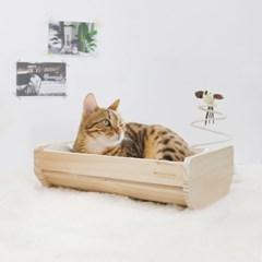 반려동물 고양이침대 원목 포그난 펫베드 소형