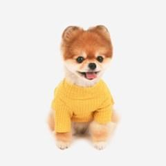 [퍼리굿] 강아지 목폴라 골지 원피스 겨울옷 (옐로우)