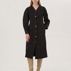 Pin Tuck No Collar Dress - Black