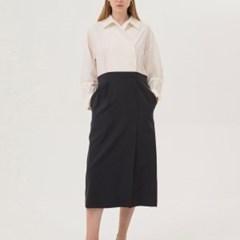Two-Tone Shirts Dress - Charcoal