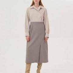 Two-Tone Shirts Dress - Sand Khaki