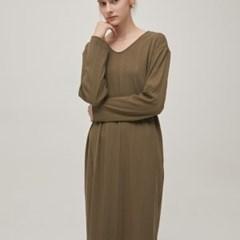 Ribbed V-neck Dress - Khaki