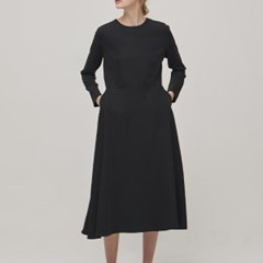 [Re-stock] Long Sleeve Flare Dress - Black