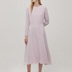 Long Sleeve Flare Dress - Pink