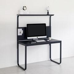 윌리 1200 블랙 1인용 타공판책상 컴퓨터 철제 게이밍 BK