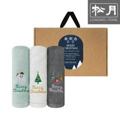 크리스마스 눈사람 자수 130g 호텔수건 3P 선물세트