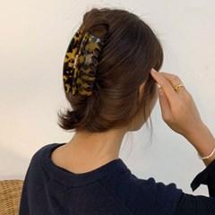 [2 color] 레오파드 반달 입술 올림머리 대형 머리집게 핀