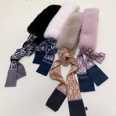 밍크 퍼 트윌리 핑크 블랙 두꺼운 미시 패션 머플러