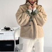 겨울 오버핏 양털 페이즐리 양면 뽀글이 박시 집업 점퍼